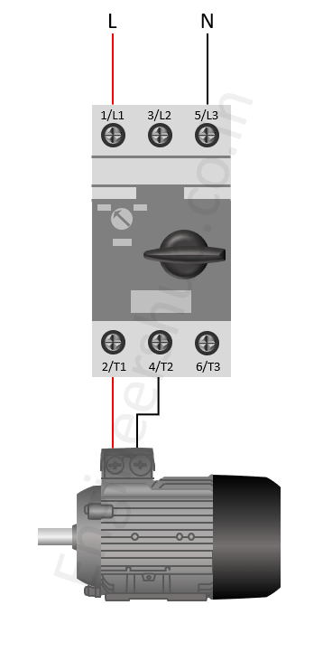 Single phase motor connection to 3 phase mpcb